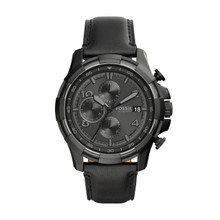 Fossil Men's Dean Chronograph Leather Watch Black FS5133 Black