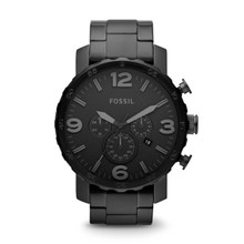 Fossil Men's Nate Chronograph Stainless Steel  Black JR1401 Watch