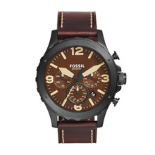 Fossil Men's Nate Chronograph Leather Watch Dark Brown JR1502 Brown