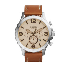 Fossil Men's Nate Chronograph Leather Watch Light Brown JR1503 Beige