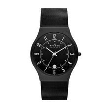 Skagen Black Dial Titanium Stainless Steel Mesh Men's Watch 233XLTMB