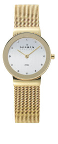 Skagen Freja Silver Dial Gold-plated Mesh Ladies Watch 358SGGD