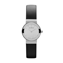 Skagen Ultra Slim Chrome Dial Swarovski Crystal Ladies Watch 358XSSLBC