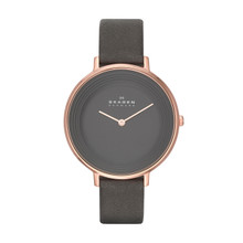 Skagen Ditte Grey Dial Grey Leather Ladies Watch SKW2216