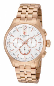 S. Coifman Men's SC0129 Quartz Chronograph Metallic White Dial  Watch