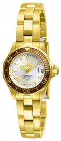 Invicta Women's 12525 Pro Diver Quartz 3 Hand Metallic White Dial Watch