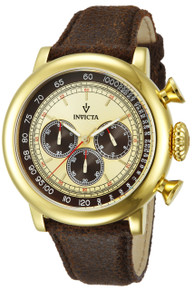 Invicta Men's 13058 Vintage Quartz 3 Hand Brown, Ivory Dial Watch