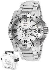 Invicta Men's 14450 Jason Taylor Quartz 3 Hand Silver Dial Watch