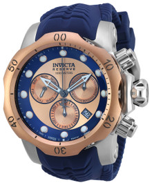 Invicta Men's 19922 Venom Quartz Chronograph Blue, Rose Gold Dial Watch