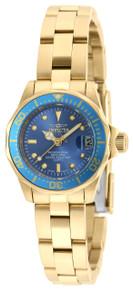 Invicta Women's 21536 Pro Diver Quartz 3 Hand Metallic Blue Dial Watch