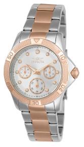 Invicta Women's 21762 Angel Quartz Chronograph Silver, Rose Gold Dial Watch