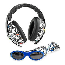Baby Banz Earmuffs Limited Edition Hearing infant Protection + Sunglasses Squiggle