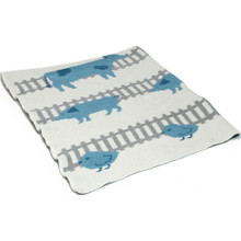 In2Green Eco Baby Farm Animals Aqua/Milk Throw