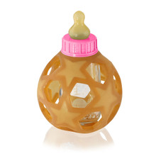 Hevea BABY GLASS BOTTLE WITH NATURAL RUBBER COVER – Pink CAP