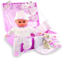 "Petitcollin 11 inches ""My Beloved Baby"" Baby Doll in a Suitcase by Petitcollin"