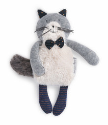 Moulin Roty Small Soft Toy Fernand the light grey cat Les Moustaches