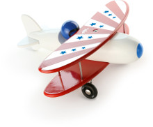 Vilac White and Red Biplane Wooden Toy
