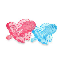 razbaby razberry teether - light pink/light blue 2-pack