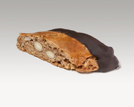 CHOCOLATE BISCOTTI  COOKIE: Almond filled cookie with a light hint of spice than half dipped in dark chocolate. Price per 1 pound.