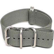 Ballistic Nylon Military Watch Strap - Grey (Matte Buckle)