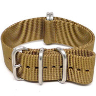 Ballistic Nylon Military Watch Strap - Sand (Matte Buckle)