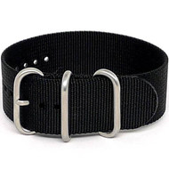 Ballistic Nylon Military 1 Piece Watch Strap - Black (Matte Buckle)