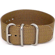 Ballistic Nylon Military 1 Piece Watch Strap - Sand (Matte Buckle)