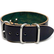 Shell Cordovan 1 Piece Military Leather Watch Strap - Navy (Matte Buckle)