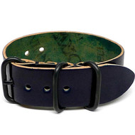 Shell Cordovan 1 Piece Military Watch Strap - Navy (PVD Buckle)