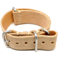 Military Leather Watch Strap - Natural Suede (Matte Buckle)