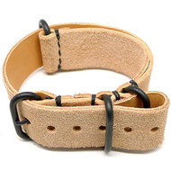 Military Leather Watch Strap - Natural Suede (PVD Buckle)