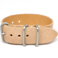 1 Piece Military Leather Watch Strap - Natural Suede (Matte Buckle)