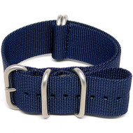 Ballistic Nylon Military Watch Strap - Navy Blue (Matte Buckle)