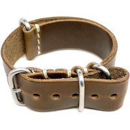 Military Watch Strap - Natural Chromexcel (Matte Buckle)
