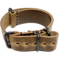 Military Leather Watch Strap - Natural Chromexcel (PVD Buckle)