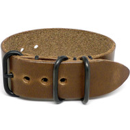1 Piece Military Leather Watch Strap - Natural Chromexcel (PVD Buckle)