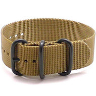 Ballistic Nylon Military 1 Piece Watch Strap - Sand (PVD Buckle)