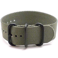 Ballistic Nylon Military 1 Piece Watch Strap - Grey (PVD Buckle)