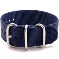 Ballistic Nylon Military 1 Piece Watch Strap - Navy (Matte Buckle)