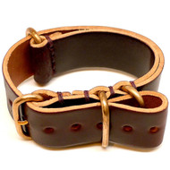 Shell Cordovan Military Leather Watch Strap - Color 8 (Bronze Buckle)