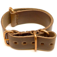 Military Watch Strap - Natural Chromexcel (Bronze Buckle)