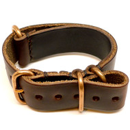 Military Leather Watch Strap - Brown Chromexcel (Bronze Buckle)
