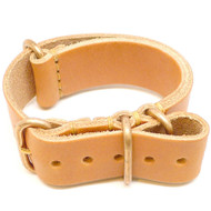 Military Leather Watch Strap - Natural Essex (Bronze Buckle)