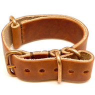 Military Leather Watch Strap - Natural Dublin (Bronze Buckle)