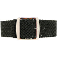 Braided Nylon Perlon Watch Strap - Black (Polished Buckle)