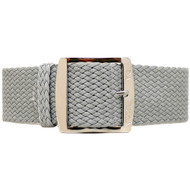 Braided Nylon Perlon Watch Strap - Grey (Polished Buckle)
