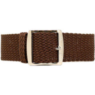 Braided Nylon Perlon Watch Strap - Brown (Polished Buckle)