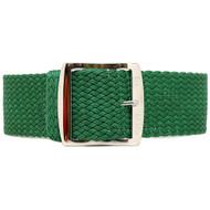 Braided Nylon Perlon Watch Strap - Green (Polished Buckle)