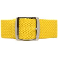 Braided Nylon Perlon Watch Strap - Yellow (Polished Buckle)