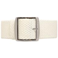 Braided Nylon Perlon Watch Strap - White (Polished Buckle)